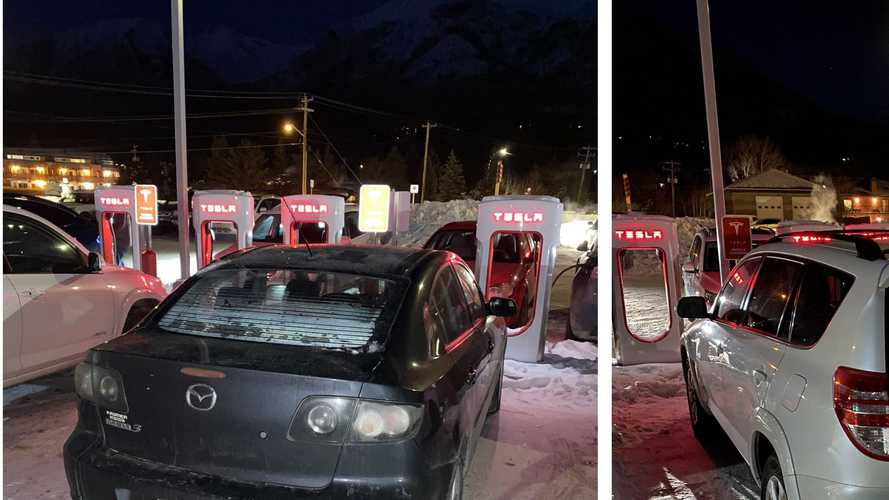 ICEd: This Entire Tesla Supercharging Station Was Blocked By Gas Cars