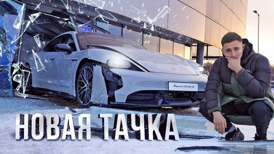 Watch This Brand New Porsche Taycan Smash Through A Dealership's Window